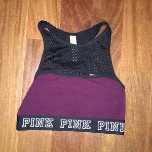 VS PINK burgundy sports bra w cute mesh trim XS